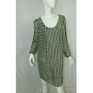 Forever 21 Stripped Silk Scoop Neck Dress Size L